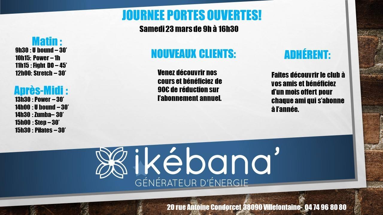 Journée portes ouvertes le 23/03/2019 – Centre de fitness Ikebana Villefontaine